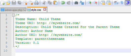 tema child WordPress manuale
